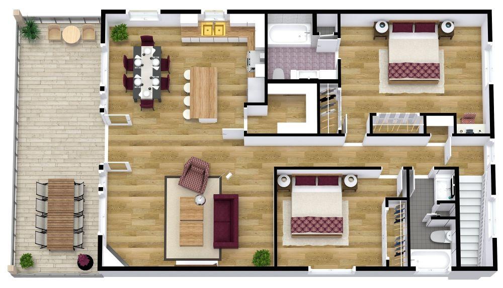 RoomSketcher Apartment 3D Floor Plans
