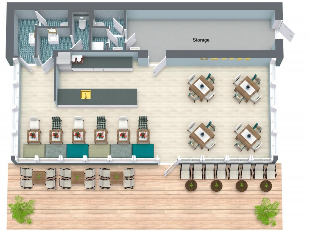 RoomSketcher Restaurant 3D Floor Plans