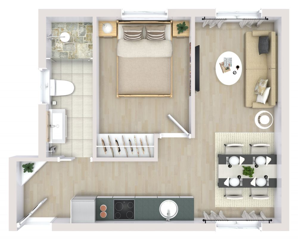 1 Bedroom 3D House Plan Examples