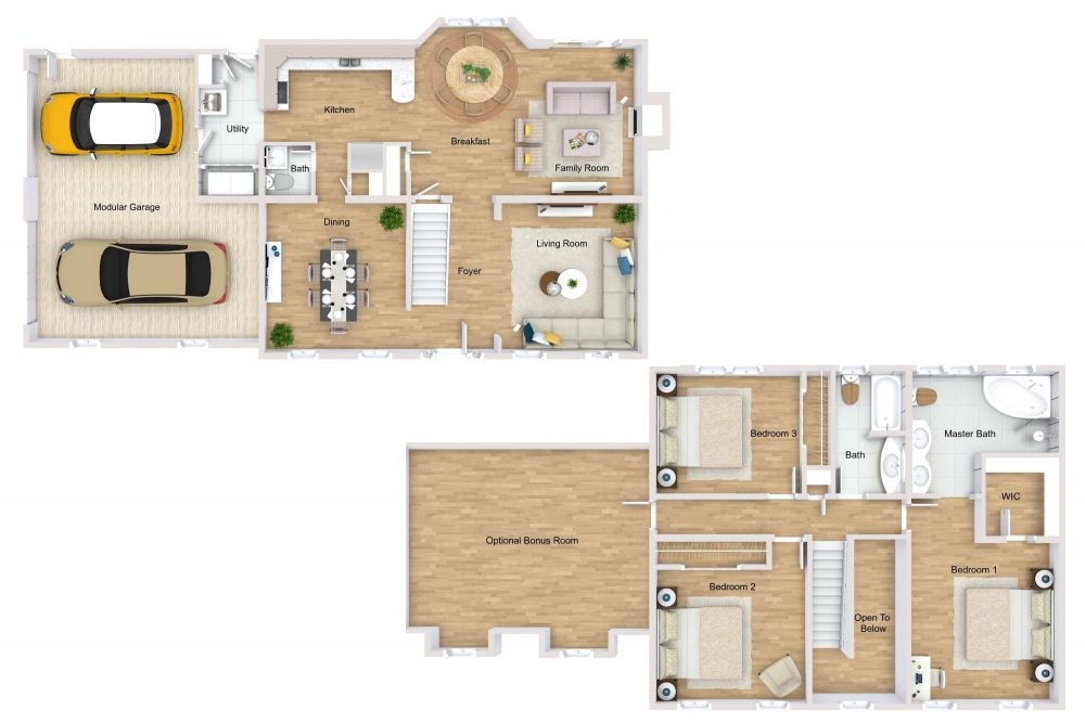 Two Story 3D House Plan Examples