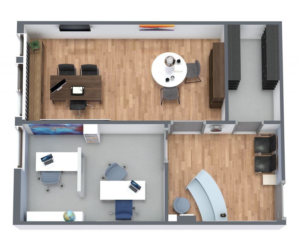 Small Office 3D Floor Plan Examples