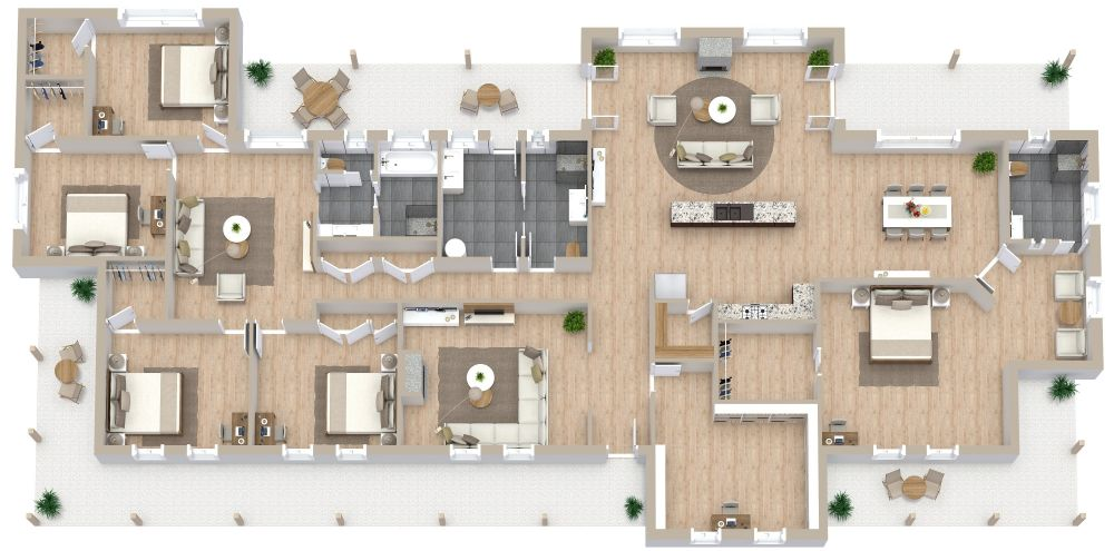 5 Bedroom 3D House Plan Examples
