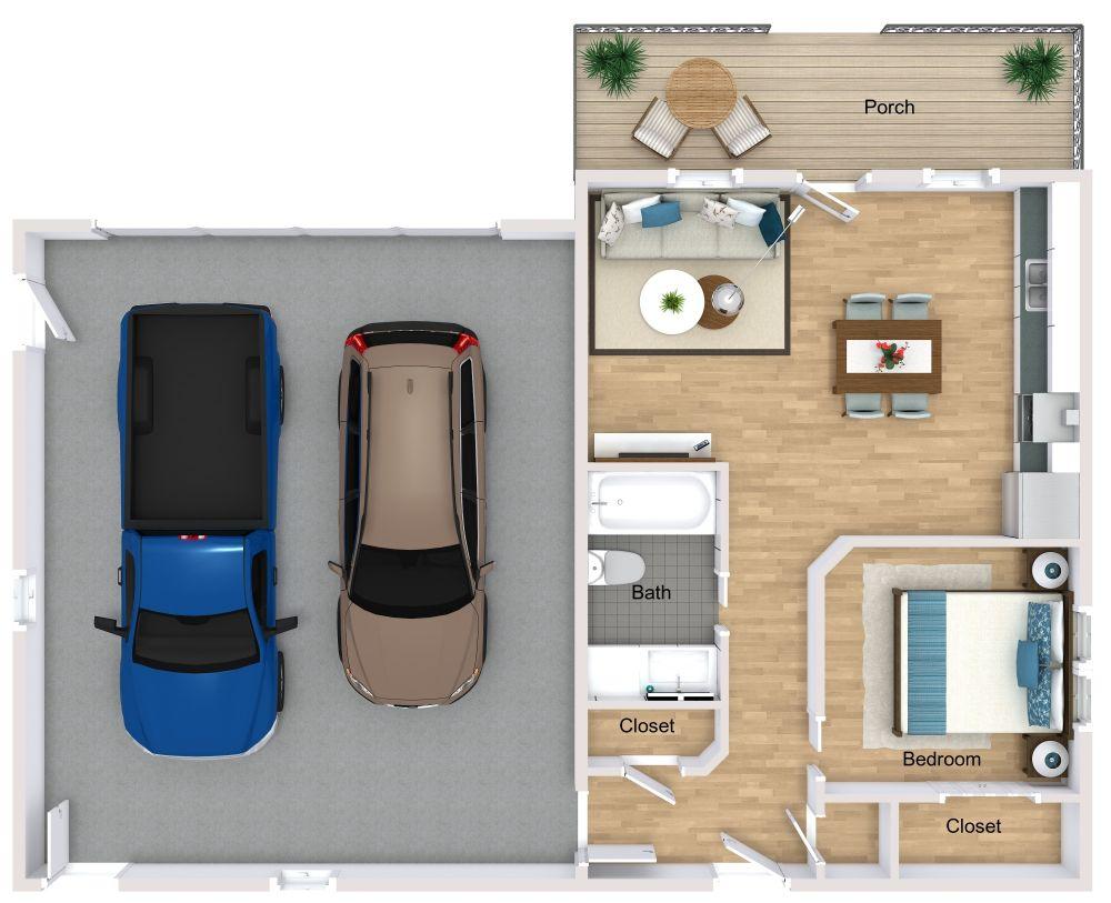 Garage Apartment 3D Plan Examples