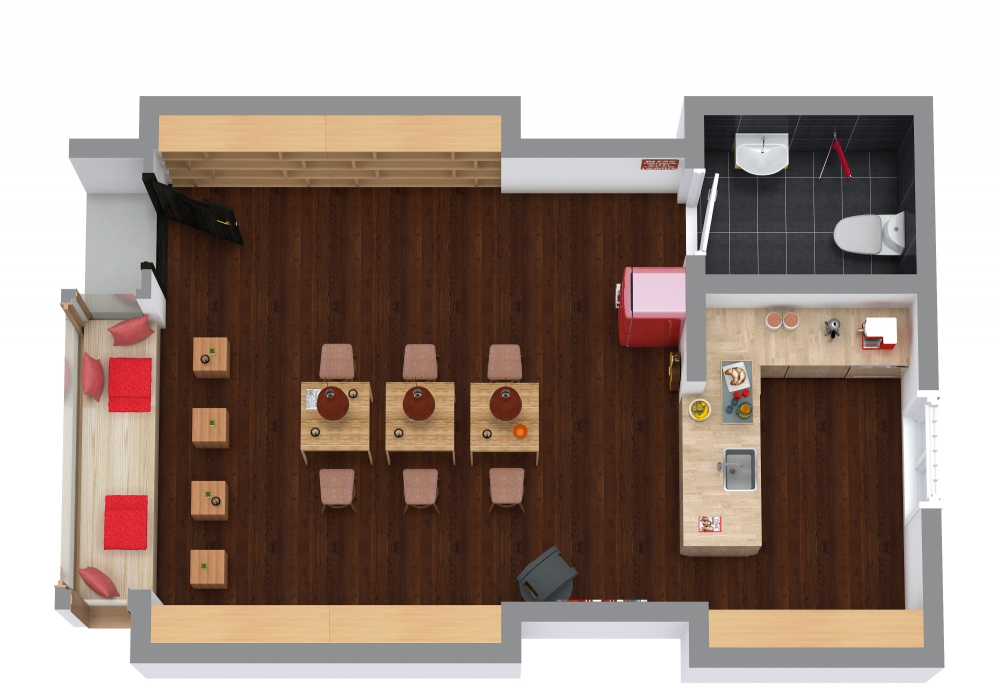 Coffee Shop 3D Floor Plan Examples