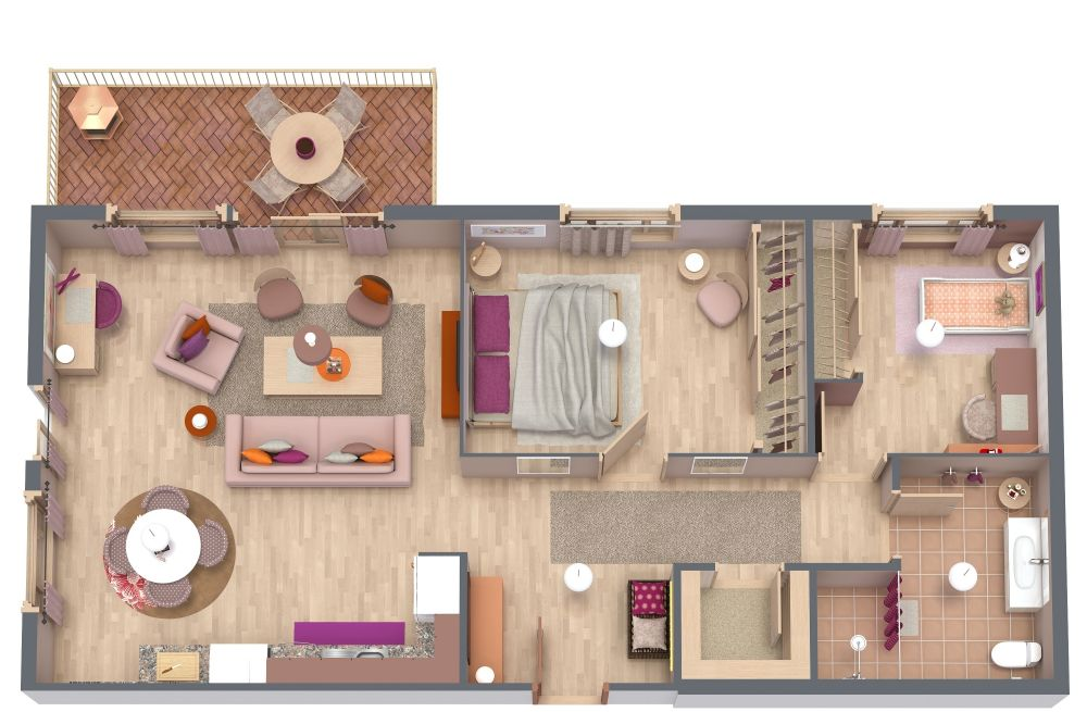2 Bedroom 3D House Plan Examples