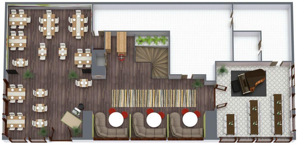 Restaurant 3D Floor Plan Examples