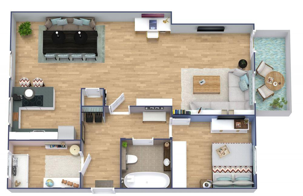 2 Bedroom Apartment Plan Examples 3D