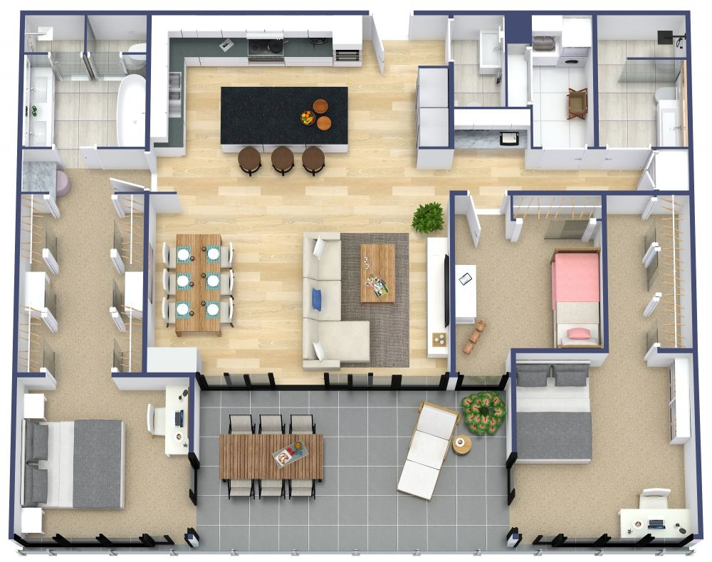 3 Bedroom 3D House Plan Examples