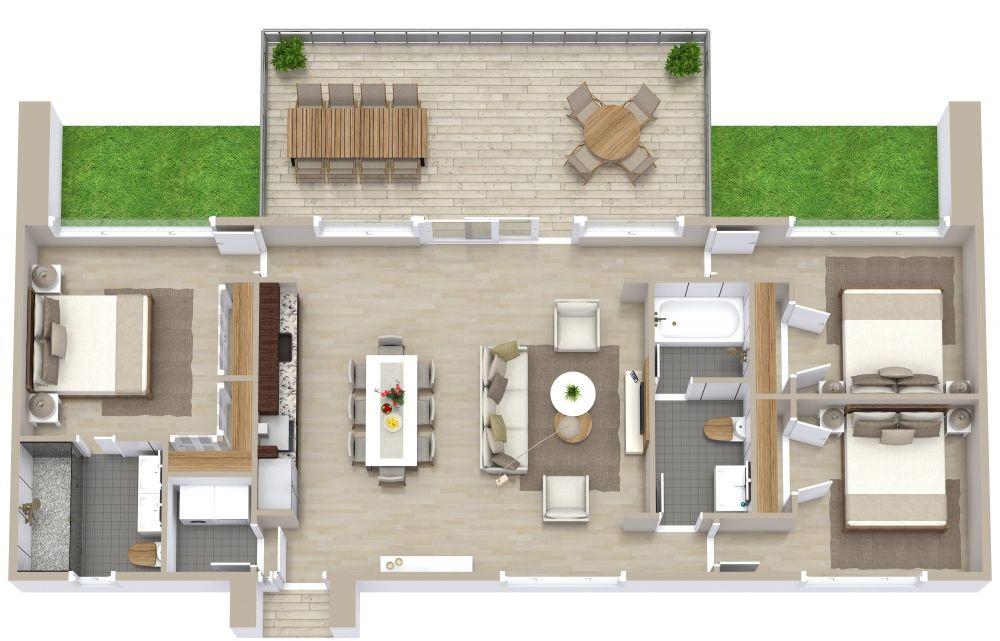 3 Bedroom Apartment Plan Examples 3D