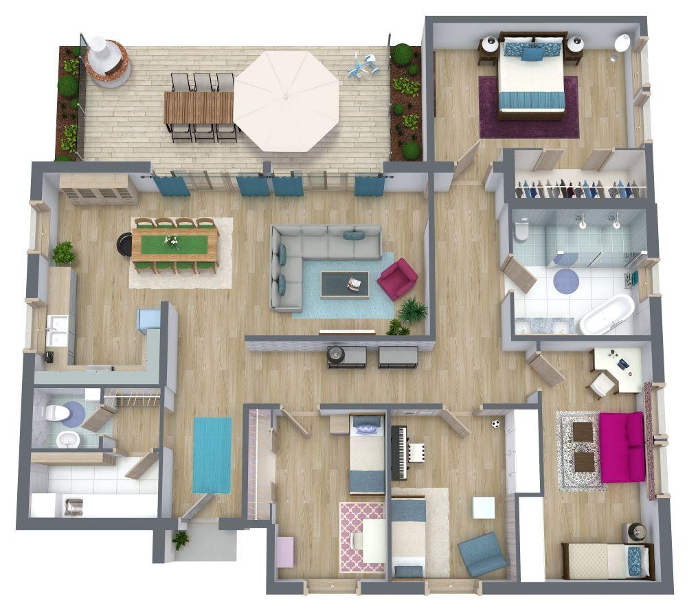 4 Bedroom Apartment Plan Examples 3D