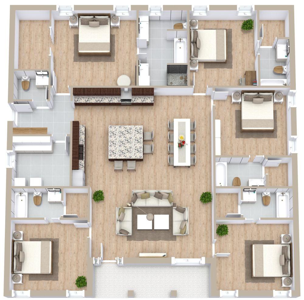 5 Bedroom Apartment Plan Examples 3D