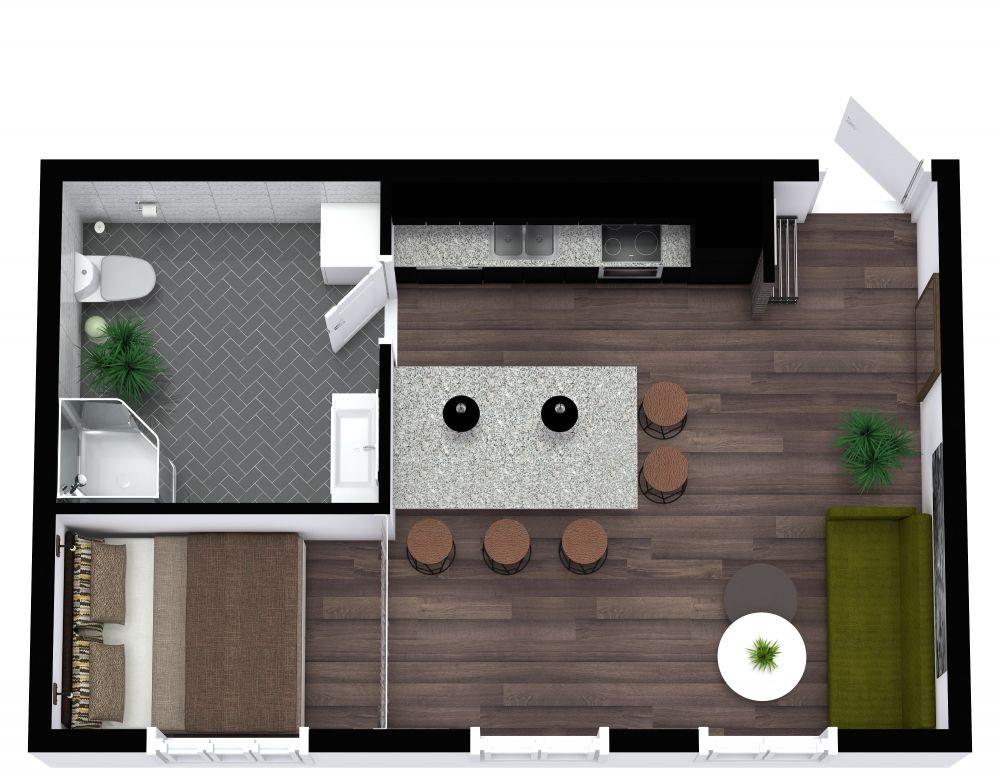 Studio Apartment 3D Plan Examples