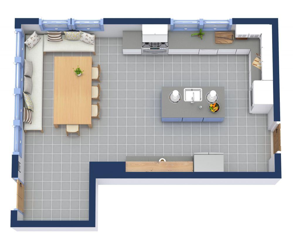 Kitchen 3D Floor Plan Examples