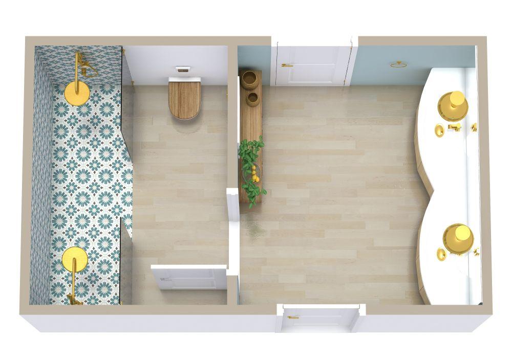 Jack and Jill Style Bathroom 3D Floor Plan