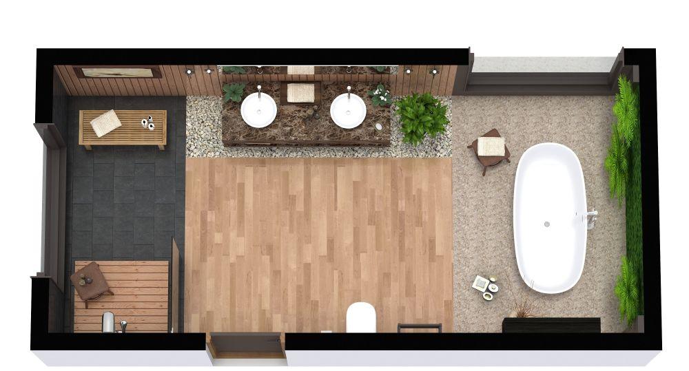 Rectangular Master Bathroom Layout With Tropical Décor 3D Flor Plan