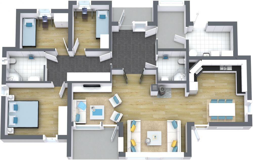 4 Bedroom 3D House Plans Examples