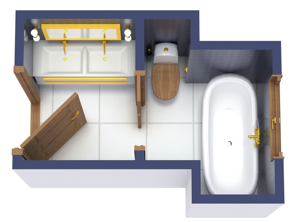 Mid-Century Modern 3/4 Bath 3D Floor Plan