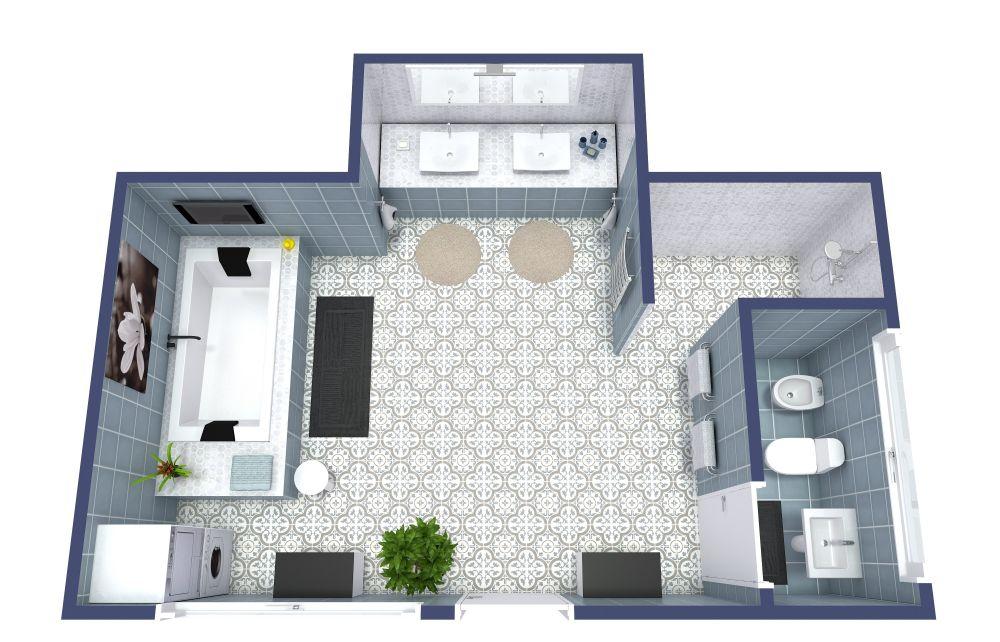 Full Master Bathroom 3D Floor Plan