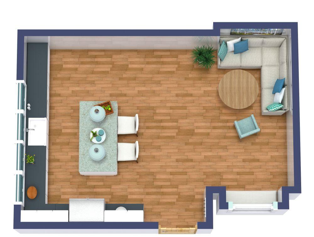 Island Kitchen 3D Floor Plan Examples