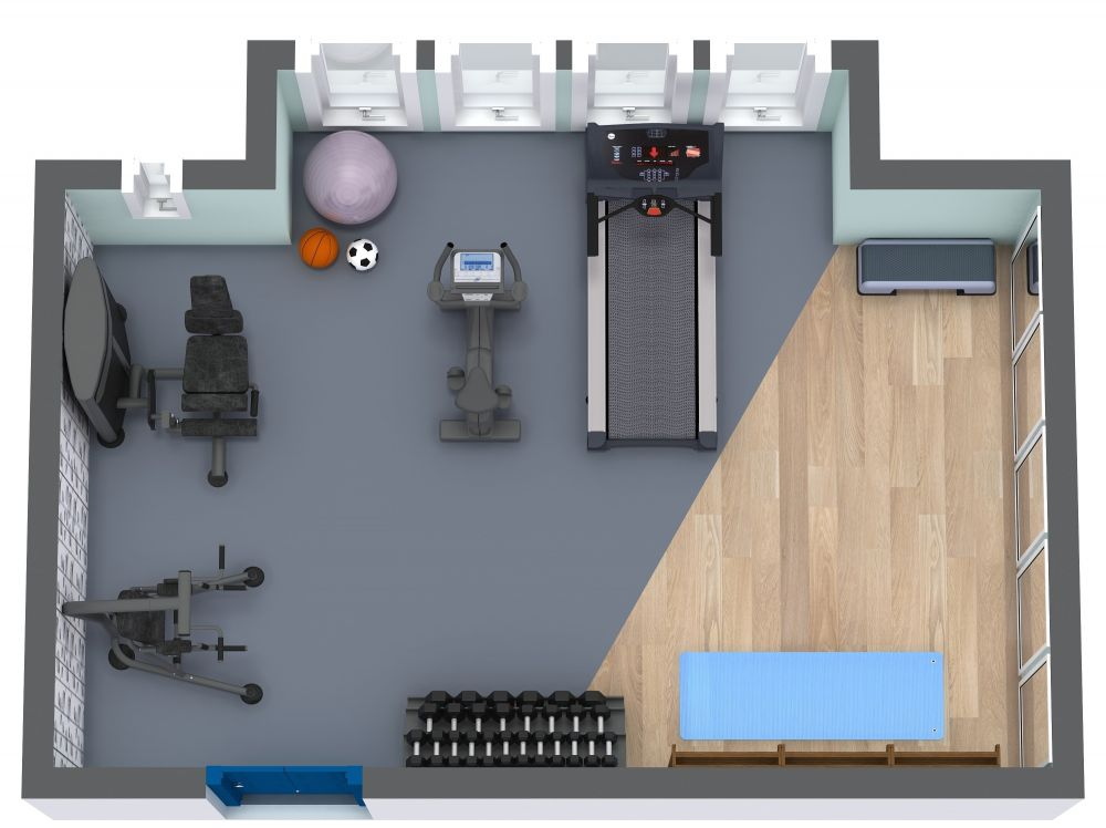 Home Gym 3D Floor Plan Examples