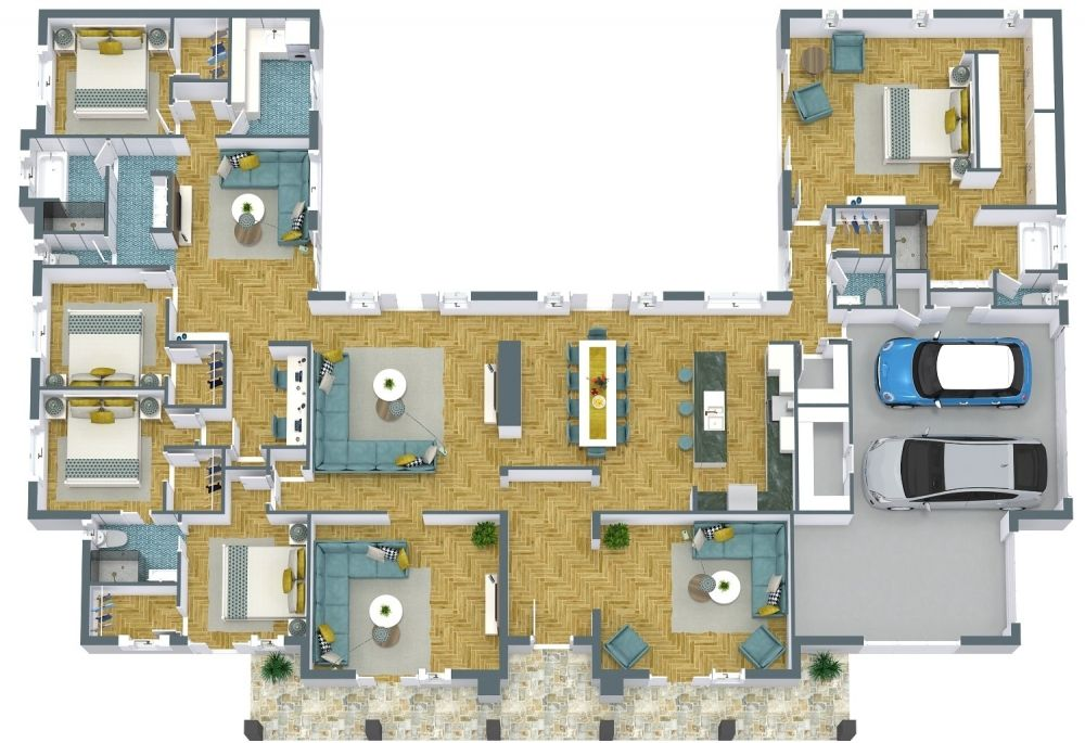 One Story 3D House Plans Examples